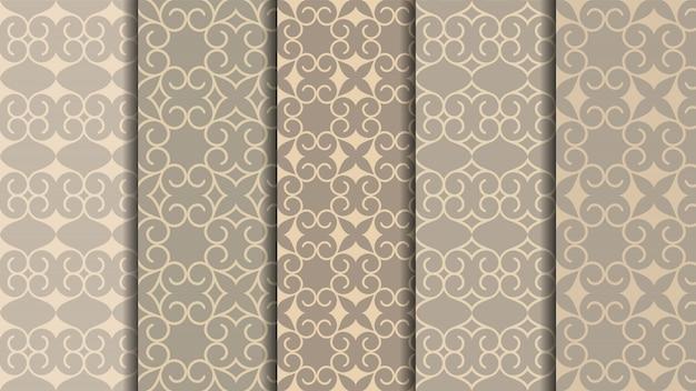 Набор восточных бесшовных узоров, традиционный арабский дизайн ковров