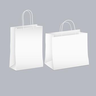 Векторный набор из двух белых пустых покупок бумажный пакет