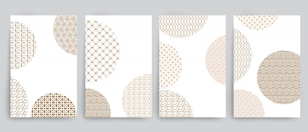 円とさまざまな黄金の幾何学的デザインの背景のセット
