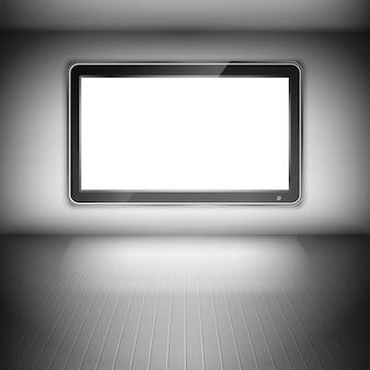 暗い部屋の壁にテレビ