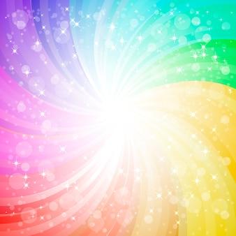 火花とグレアの背景と抽象的な虹の背景