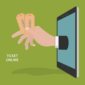オンラインチケット注文ベクトル概念。
