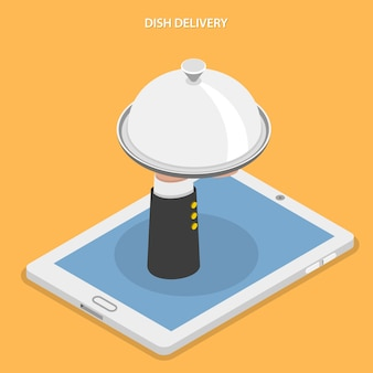 Блюдо доставки плоской изометрические векторные иллюстрации.