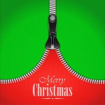 Вязаный рождественский фон с железной молнией.