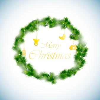 緑のクリスマスリースの背景