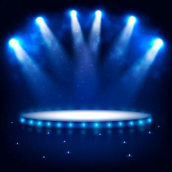 暗闇でのプレゼンテーションのための照らされた表彰台。
