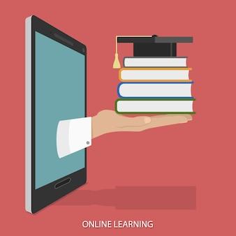 Концепция образования онлайн плоский изометрические.