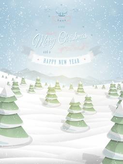 クリスマスの挨拶テンプレートイラスト。