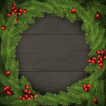 Рождественский венок на темном деревянном. для поздравительных открыток, плакатов и баннеров