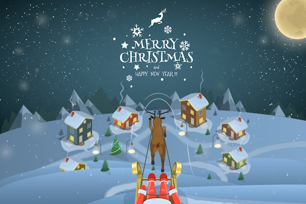 クリスマスの夜の風景イラスト。サンタは村の上空を飛んでいます。