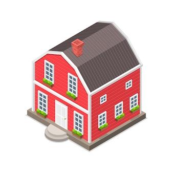 Изометрические вектор плоской концепции красного дома, изолированные на белом.