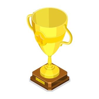 黄金の優勝カップの等尺性平面ベクトル概念。