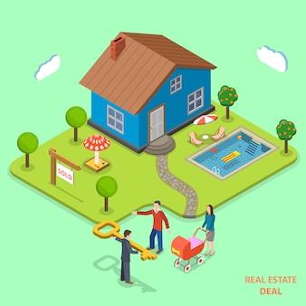 Недвижимость сделки изометрические вектор плоский концепции.