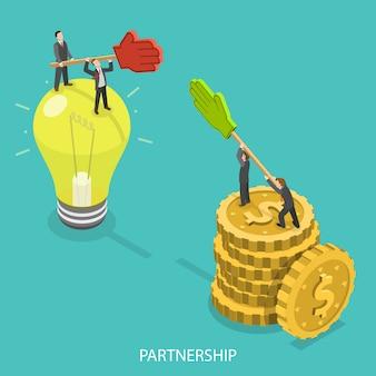 ビジネスパートナーシップフラット等尺性。