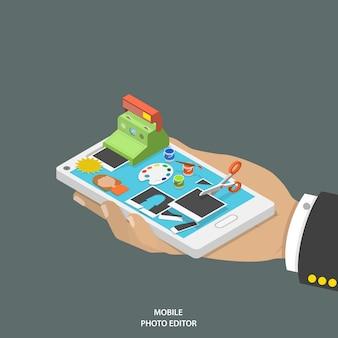 携帯フォトエディターフラット等尺性ベクトルの概念。