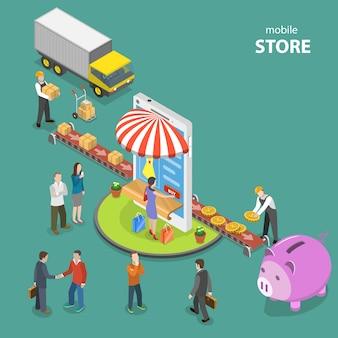 Мобильный магазин плоский изометрические низкой поли вектор концепции.