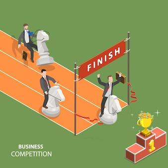 ビジネス競争フラット等尺性低ポリベクトルの概念。