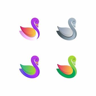 Утка красочный логотип шаблон