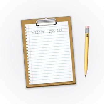 紙とペンシルの詳細な茶色のクリップボード