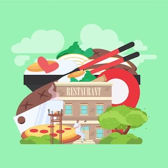 背景に食べ物の写真が入ったレストランの建物