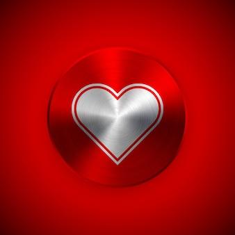 赤い抽象バレンタインバッジ