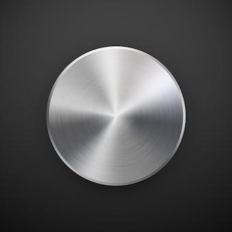 金属製のサークルバッジ、金属の質感、クロム、銀、鋼を持つ空白のボタンテンプレート