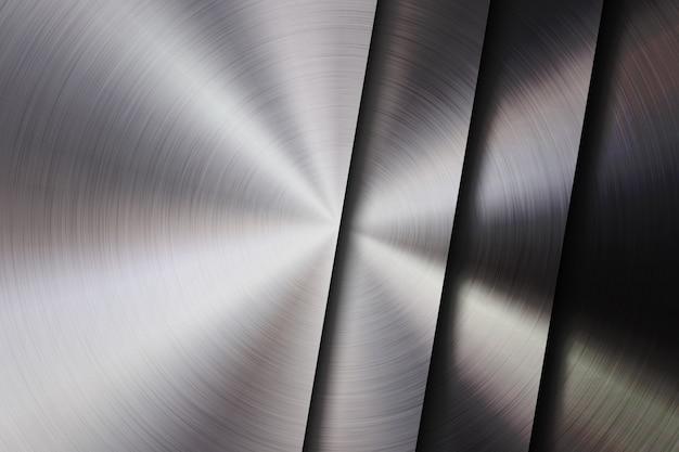 円形の洗練された、同心円の質感、クロム、銀、鋼、アルミニウムと金属の質感の抽象的な技術の背景