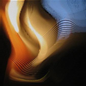 グリッチ抽象的な背景、歪み効果、ランダムウェーブカラーライン