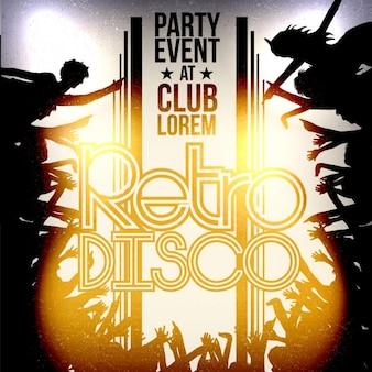 パーティーイベントのレトロなディスコのポスター、