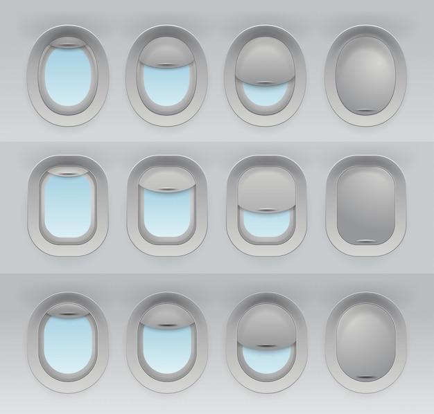 現実的な航空機の窓のセット