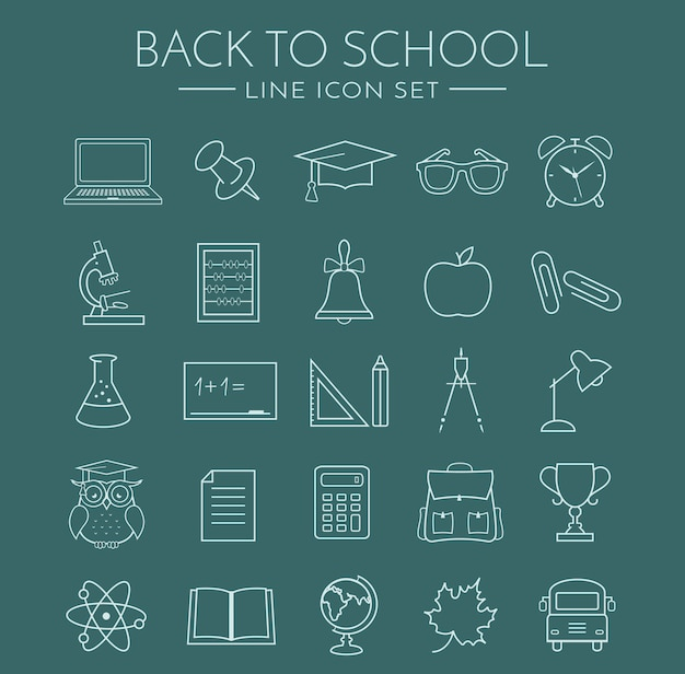 Школьные иконки линии