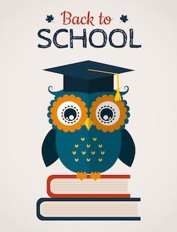 フクロウと学校ベクトルカードに戻る。