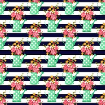 水まき缶と花とのシームレスなパターン。