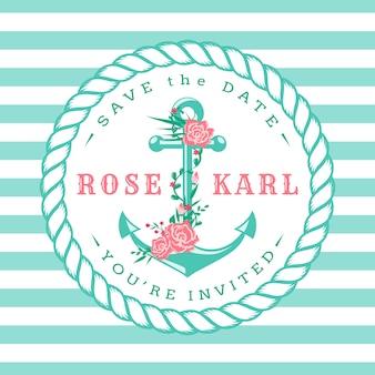 航海の結婚式の招待状。