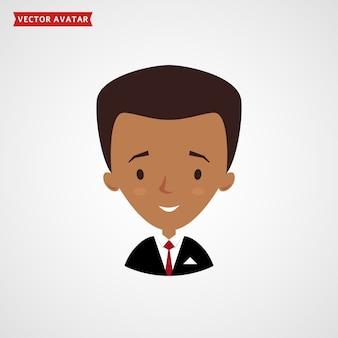 黒人男性の顔。ビジネスマンのアバター。
