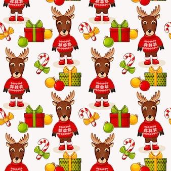 クリスマスの鹿とのシームレスな背景。パターン。