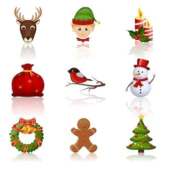 色付きのクリスマスと新年のアイコン。図。