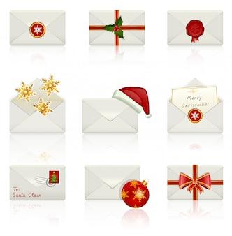 アイコンのセット:クリスマスの封筒。