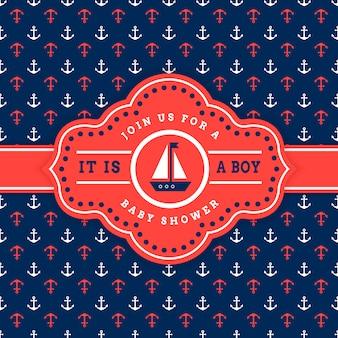 航海ベビーシャワーの招待状カードのテンプレート