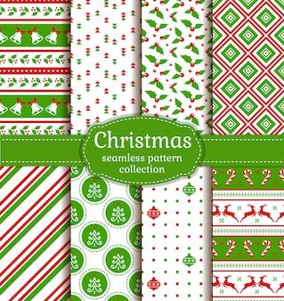 クリスマスのシームレスなパターン。セットする。