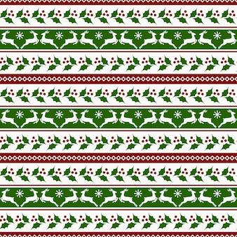 鹿とヒイラギのクリスマスストライプパターン