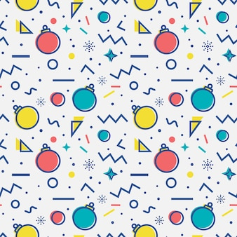 Бесшовный фон с елочными шарами. мемфисский стиль. ,