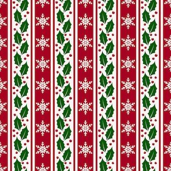 クリスマスの背景に雪片、ヒイラギ