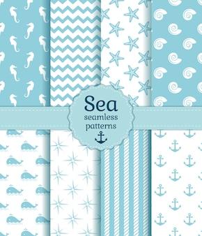 海のシームレスパターン。ベクトルコレクション