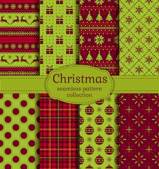 クリスマスのシームレスパターンセット