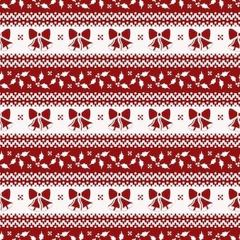 クリスマスの鐘とヒイラギのシームレスパターン