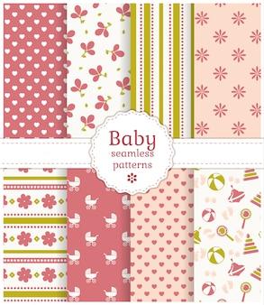 赤ちゃんのシームレスパターン。ベクトルを設定します。