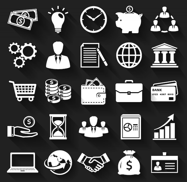 Бизнес и финансы плоские иконки.