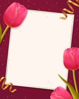 チューリップと空白の紙のシートの背景。