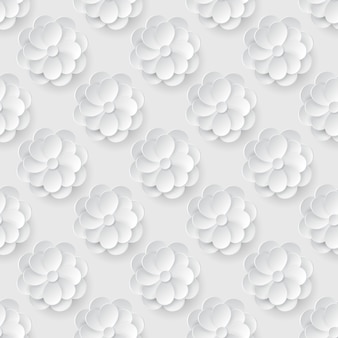 Бесшовный фон с цветами белой бумаги.